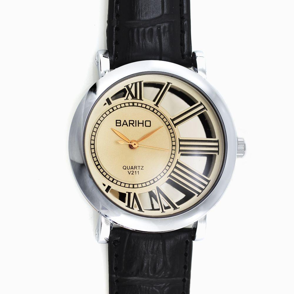a3a3f449633 Dámské hodinky se zajímavým číselníkem na černém koženém pásku..0138 167457  A.Q00I5151B90