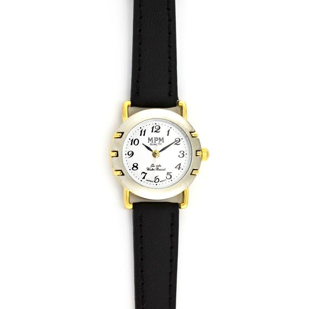 Dámské společenské hodinky s černým koženým řemínkem a stříbrno-zlatým  pouzdrem..057 167363 f56285e962