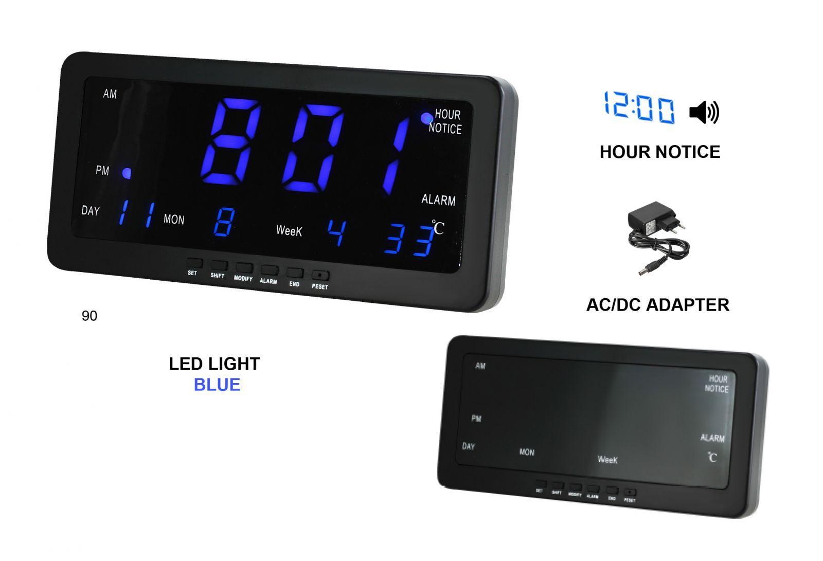 Digitální budík s modrými LED diodami, datem a teploměrem k postavení na stůl nebo pověšení na zeď s možností melodie každou celou hodinu.088 167398