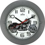 Nástěnné plastové hodiny s plynulým chodem a motivem motorky..049 167354