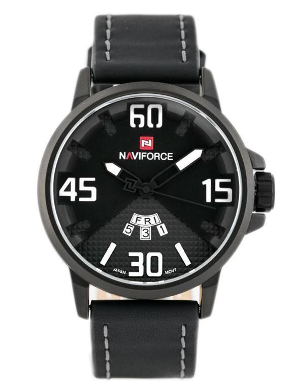 Pánské sportovní hodinky s koženým řemínkem a ukazatelem data v černém provedení..010 167305 A.Q02L9000B9092.2424