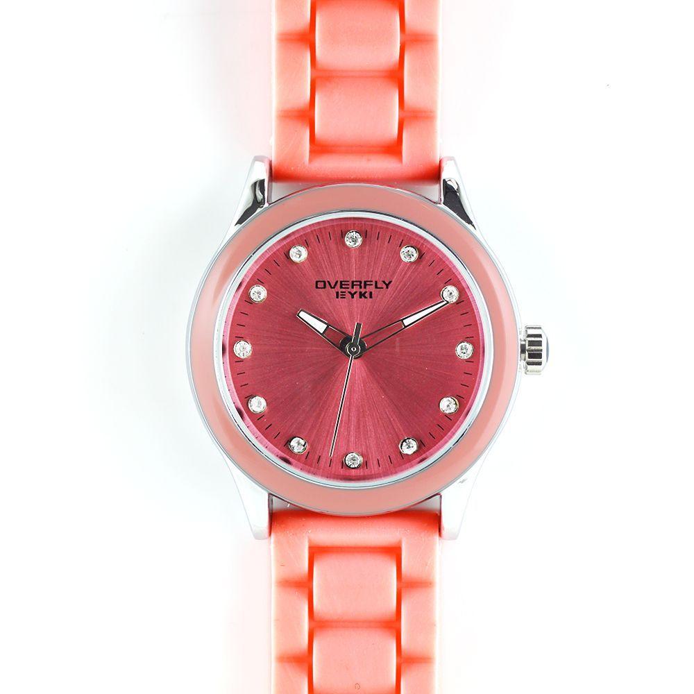 Barevně sladěné hodinky do lososové barvy se silikonovým řemínkem..0278 167609 A.Q00I2370C23