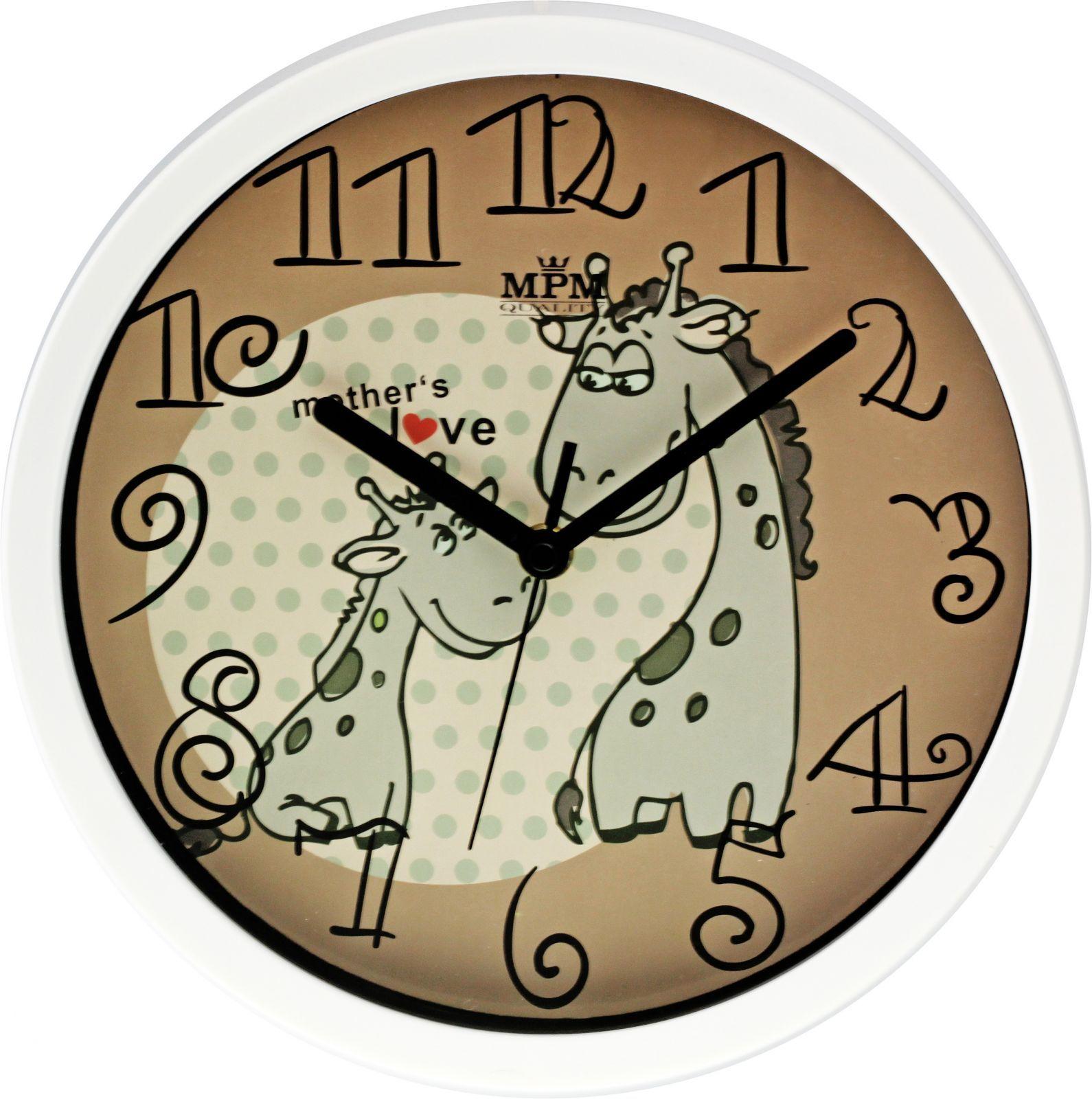Bílohnědé dětské nástěnné hodiny s motivem žirafy v ciferníku..0232 167560 90cb705c68d