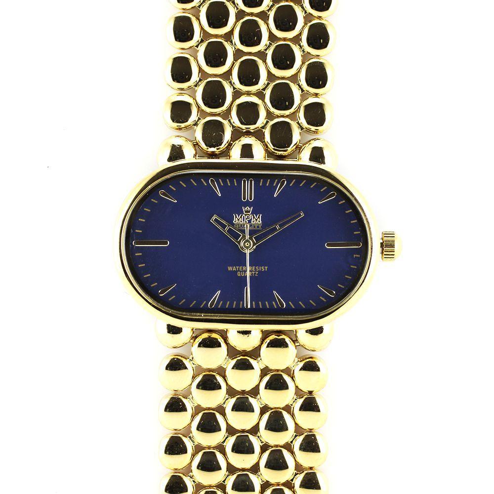 Dámské elegantní hodinky s modrým číselníkem a zlatými indexy..0241 167568 adece358b1