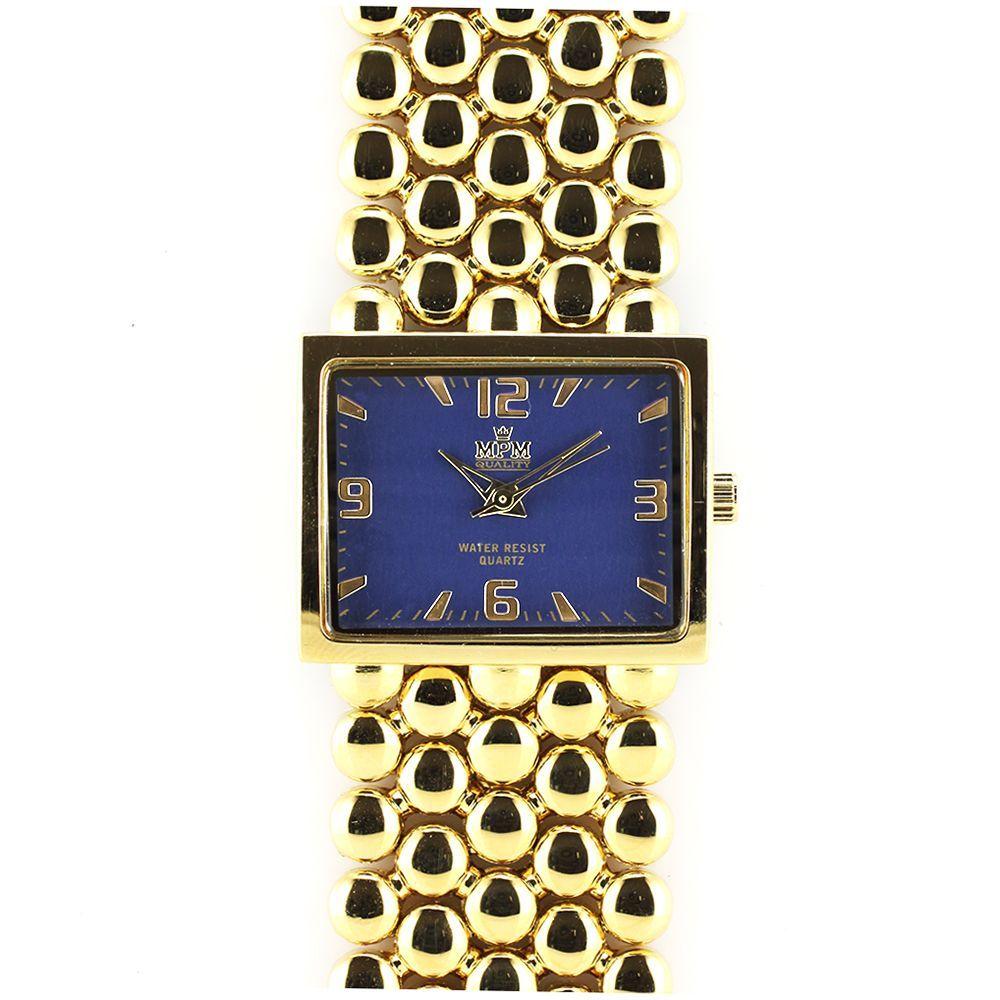 4041aae3602 Dámské elegantní hodinky s modrým hranatým číselníkem a zlatými  indexy..0240 167567
