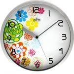 Stříbrné plastové hodiny s motivem jara..0224 167552