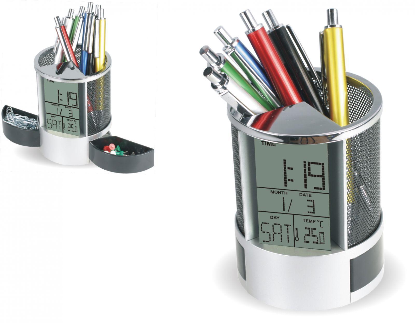 Digitální budík jako stojan na tužky s nastavením datumu a vnitřním těploměrem..0549 167896