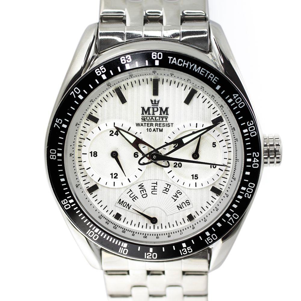 2da0e93fc Elegantní pánské hodinky s chronografem, datem a bílým číselníkem v  leštěném ocelovém provedení.0401