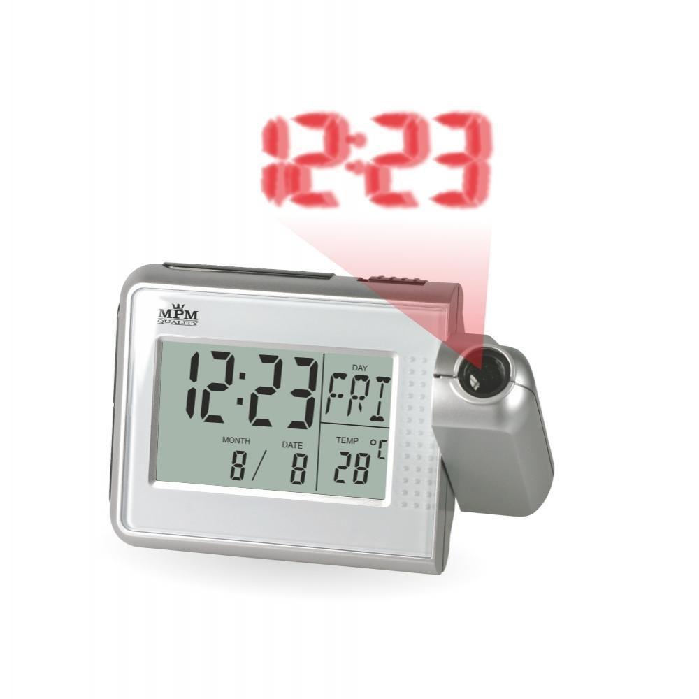 Stolní digitální budík s projektorem času a teploměrem..0551 167898 70 - stříbrná