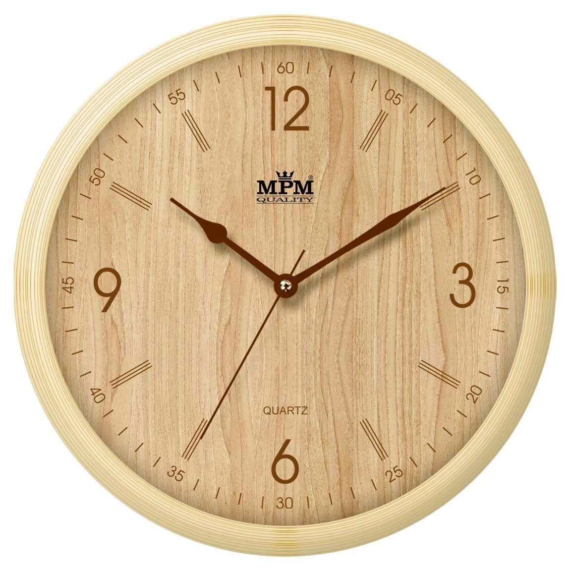 Hodiny na zeď Světle hnědé nástěnné plastové hodiny imitujicí dřevo..0438 167776 Designové hodiny