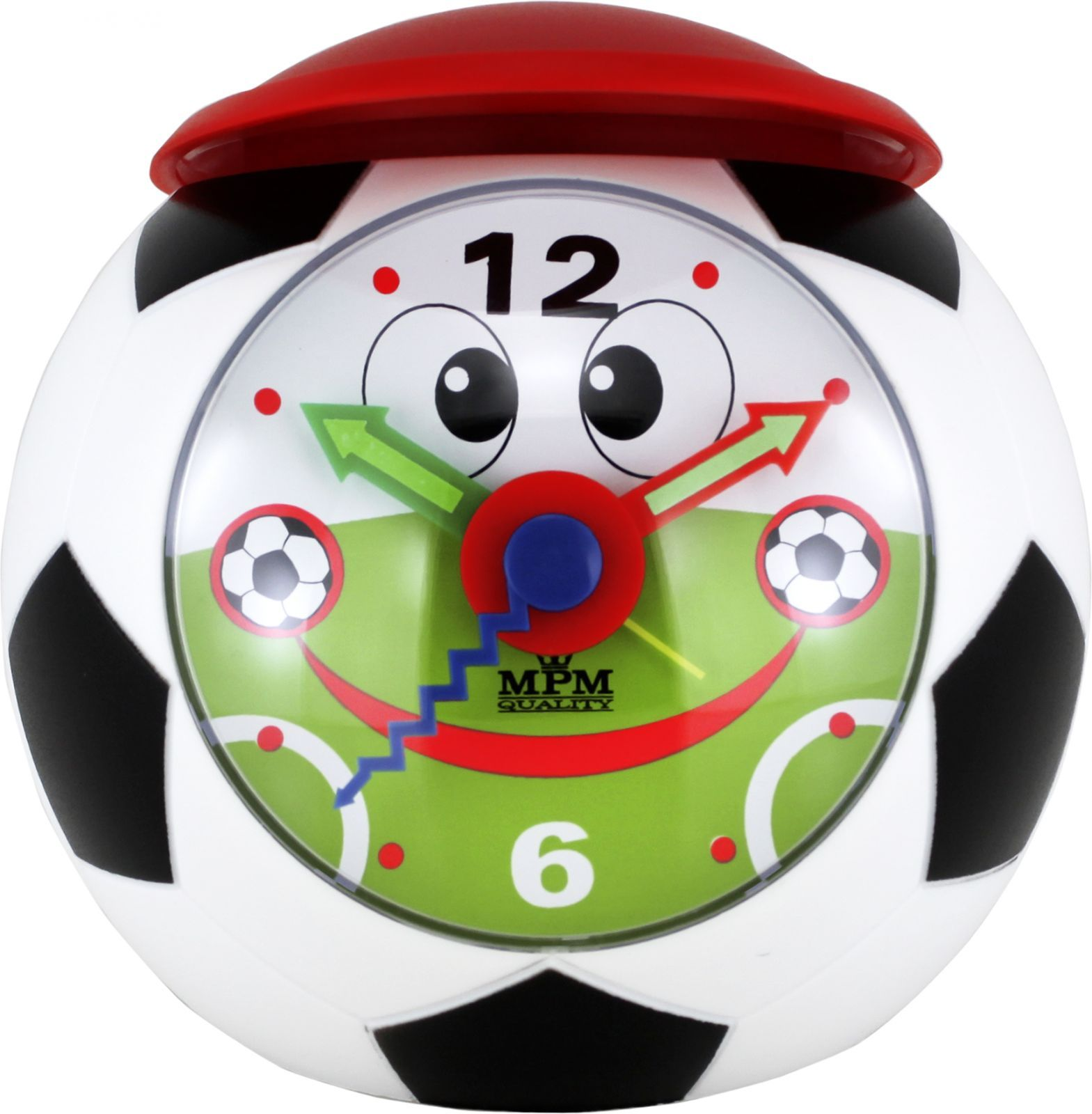 Usměvavý dětský budík tvar fotbalový míč s červenou čepicí a zesilujícím alarmem..0535 167883