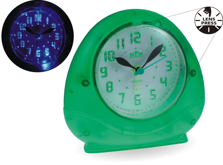 Zelený dětský budík s funkcí LENS PRESS, SNOOZE a zesilujícím alarmem..0537 167885 Hodiny