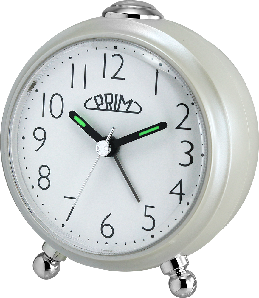 Stylový budík, který se bude vyjímat na každém nočním stolku. Budík se vyznačuje tichým chodem a díky zesilujícímu alarmu a funkci opakovaného buzení určitě nezaspíte..01444 169065 0200.A - perleť/bílá