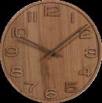 Dřevěné hodiny s vystouplými čísly a dřevěnými ručičkami. U ručiček je nutná vlastní montáž dle přiloženého návodu. V balení je jeden pár dřevěných ručiček..014