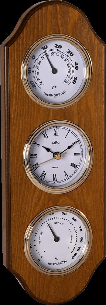 Dřevěné nástěnné hodiny s teploměrem a vlhkoměrem..01532 169312 50 - hnědá
