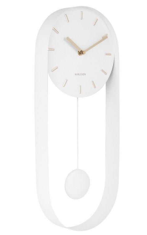 Designové kyvadlové nástěnné hodiny 5822WH Karlsson 50cm 169511 Hodiny