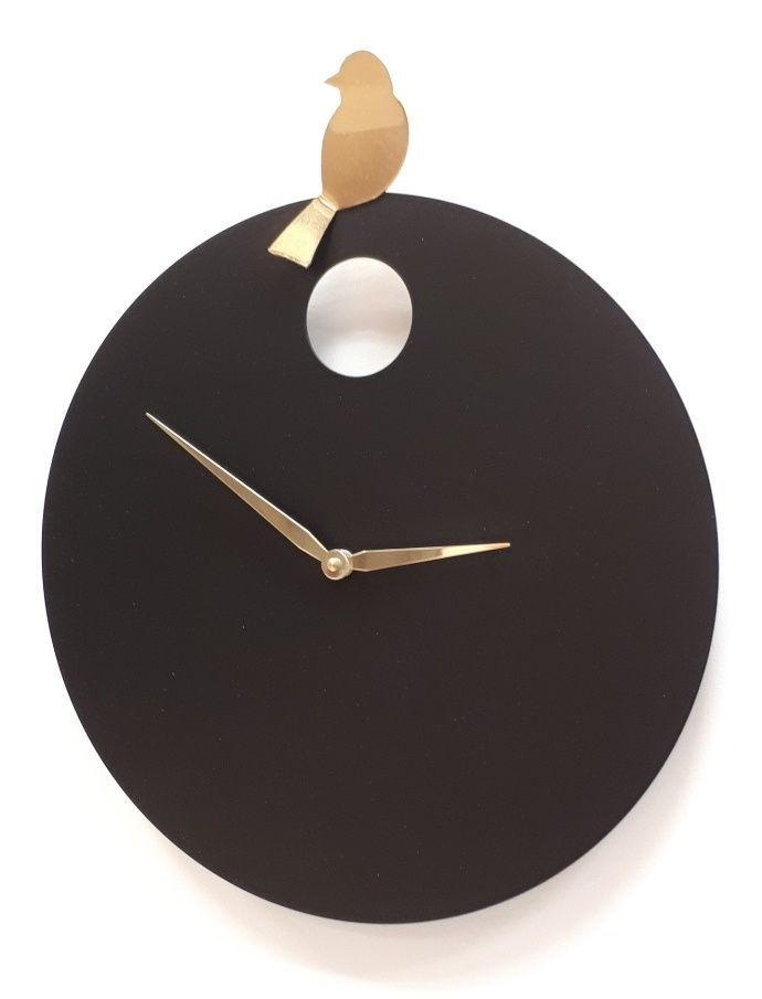 Designové nástěnné hodiny Diamantini&Domeniconi 394 black gold Bird 40cm 169663 Hodiny