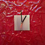 Hodiny nástěnné skleněné červená 170562