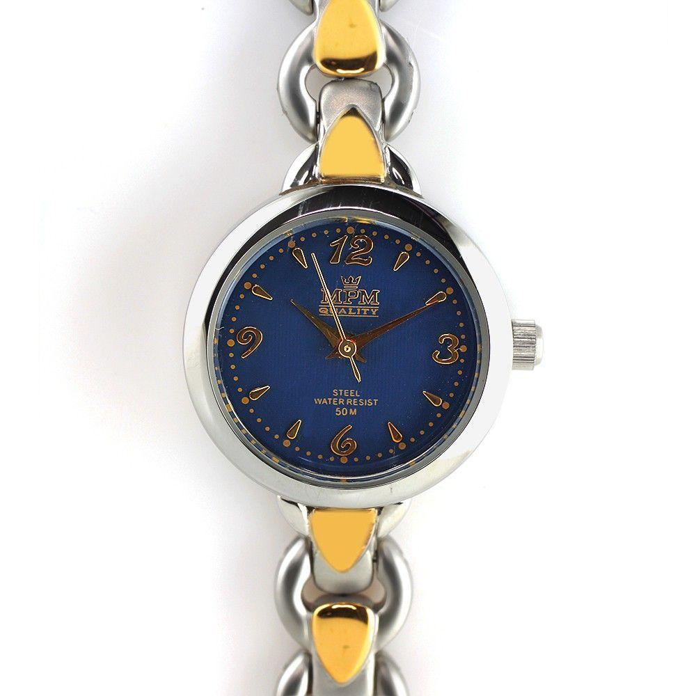 Dámské hodinky s modrým číselníkem v pouzdře z matné oceli..0258 170646 Hodiny