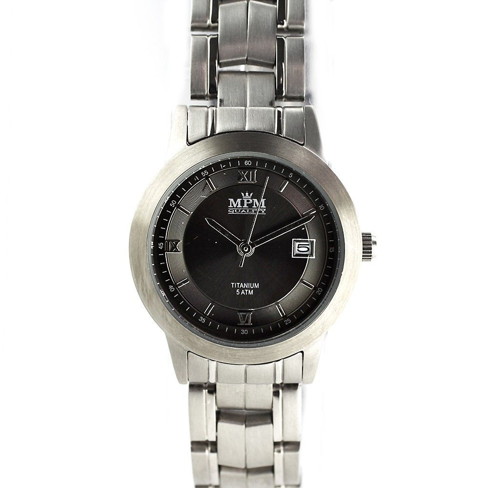Dámské titanové hodinky se stylovým černým číselníkem a datumem.0206 170594 Hodiny