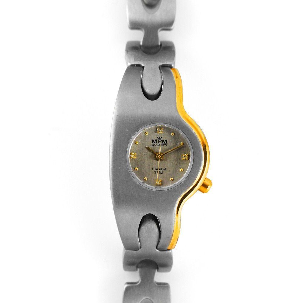 Dámské titanové hodinky se zlacením , číselník zdobený indexy se zirkony..0228 170616 Hodiny