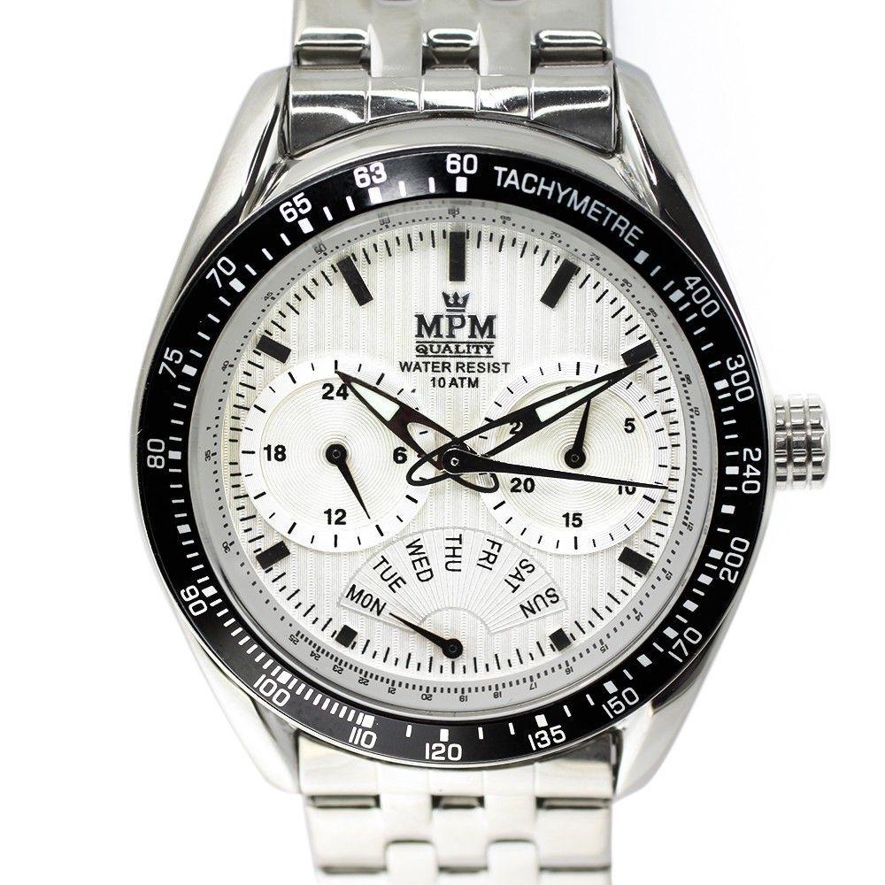 Elegantní pánské hodinky s chronografem, datem a bílým číselníkem v leštěném ocelovém provedení.0196 170584 Hodiny
