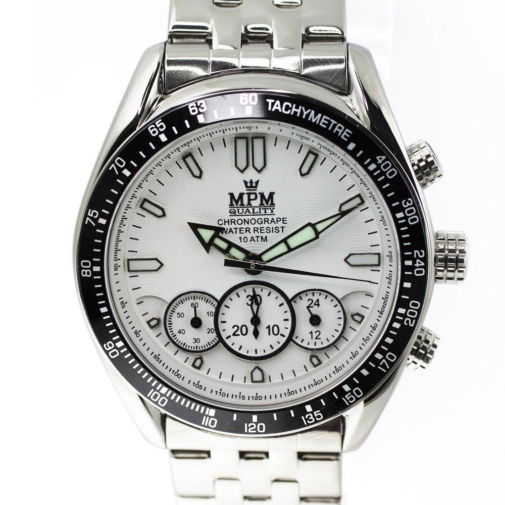 Pánské hodinky s chronografem, datem a bílým číselníkem.0193 170581 Hodiny