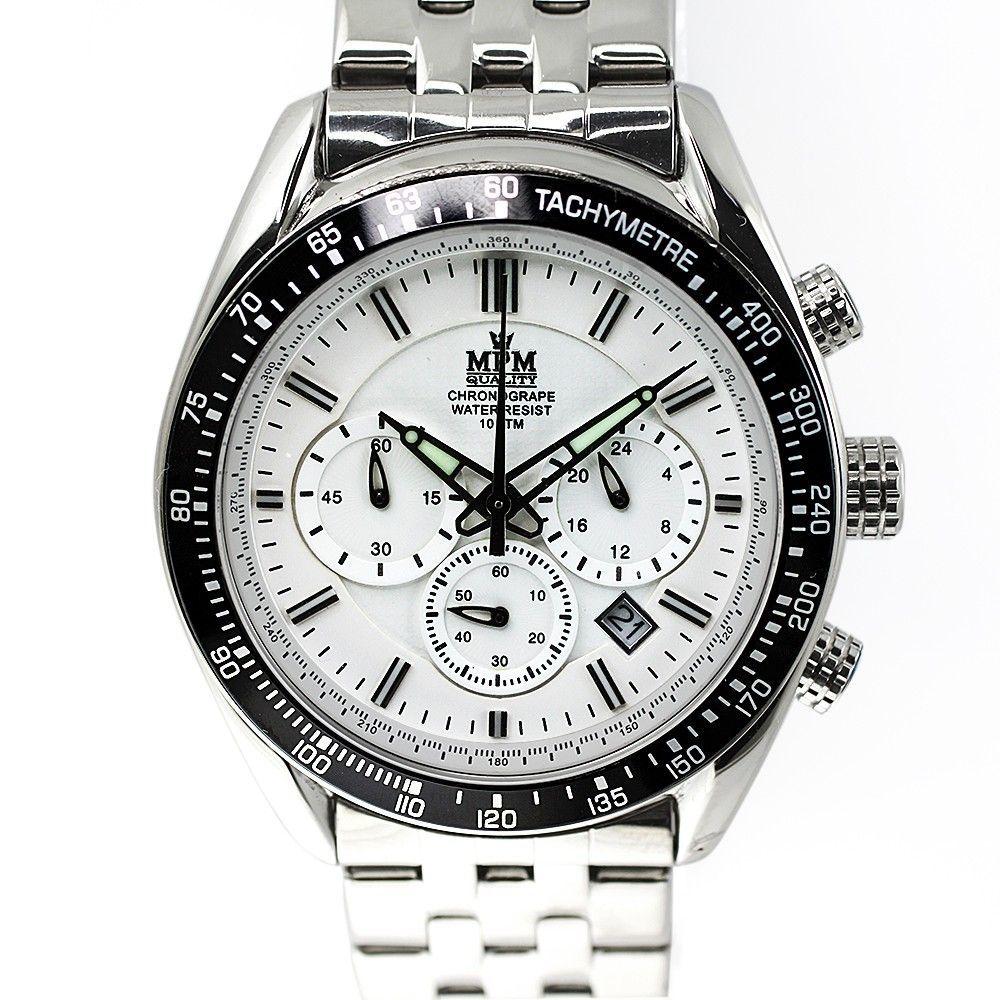 Pánské hodinky s chronografem, datem a bílým číselníkem.0191 170579 Hodiny