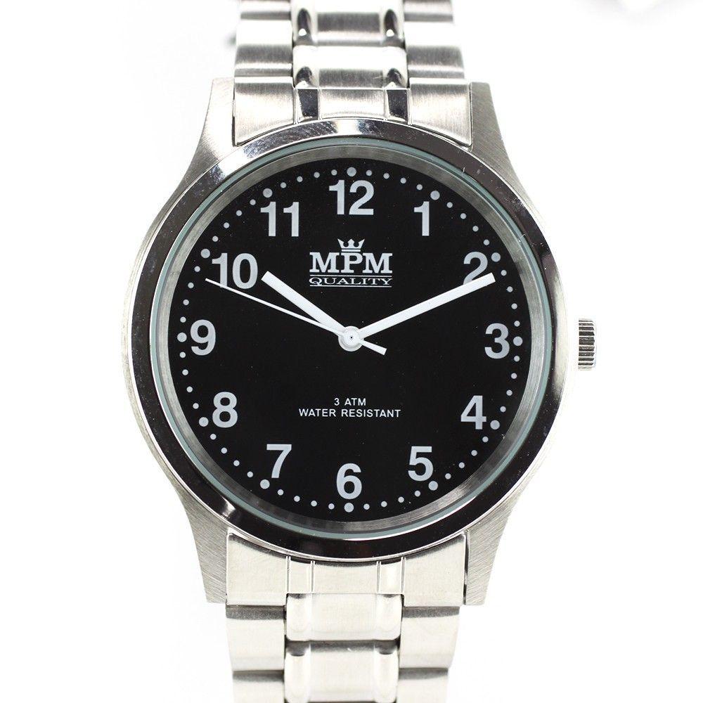 Pánské hodinky s ocelovým pouzdrem a černým číselníkem..0280 170667 Hodiny