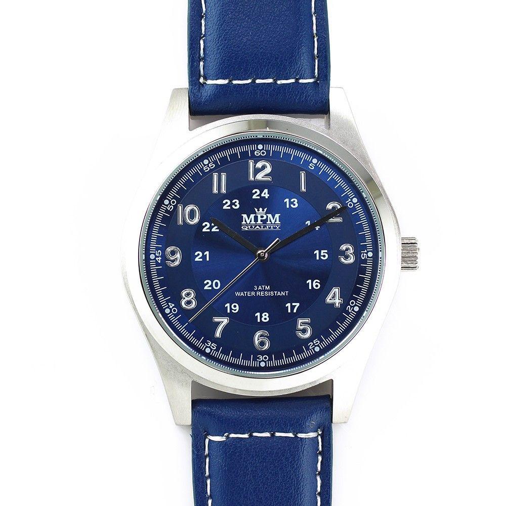 Pánské hodinky s ocelovým pouzdrem a koženým řemínkem..0239 170627 Hodiny