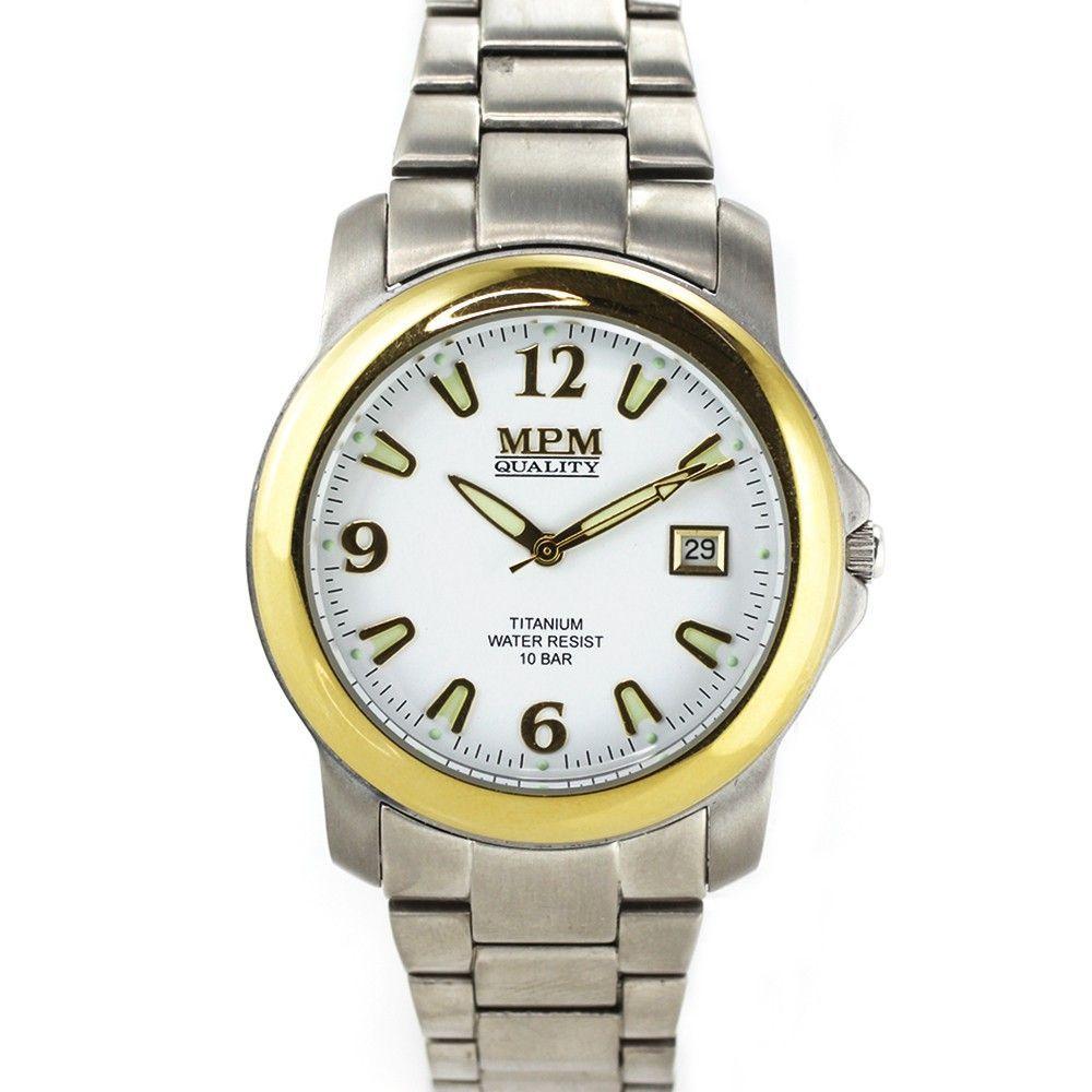 Pánské titanové hodinky s pozlaceným pouzdrem, pevným řemínkem a datumem.0182 170570 Hodiny