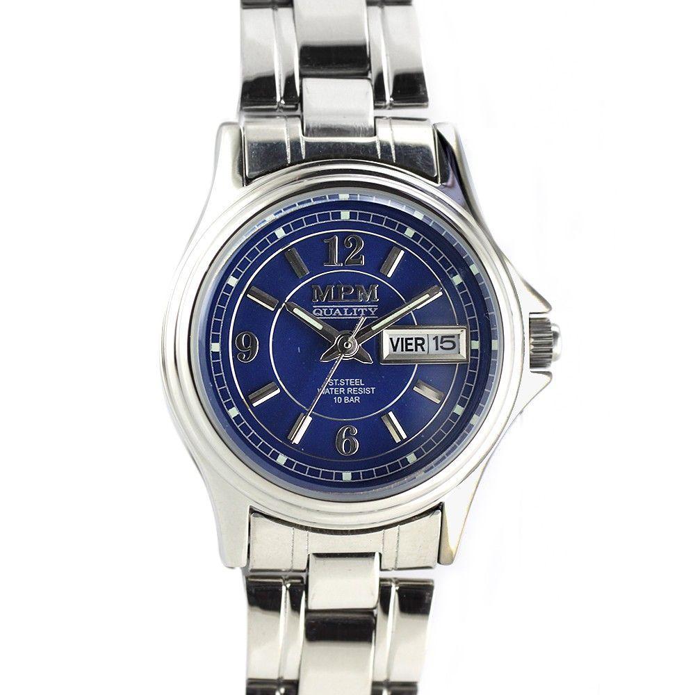 Stylové dámské hodinky s ukazatelem dne i data a bílým číselníkem. Hodinky z ušlechtilé oceli. .0223 170611 Hodiny