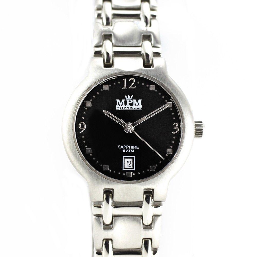 Stylové společenské dámské hodinky s černým číselníkem a datumem.0219 170607 Hodiny