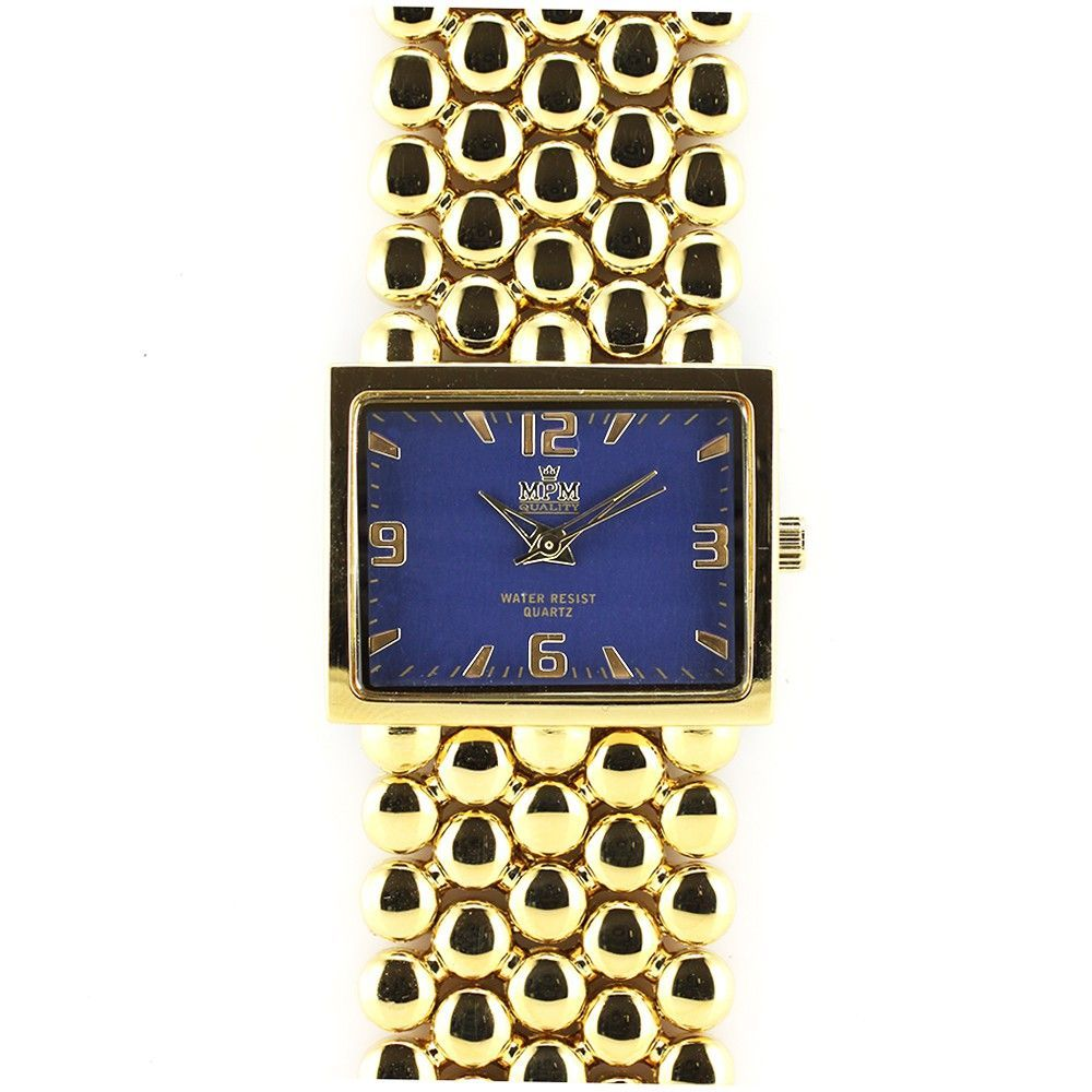 Dámské elegantní hodinky s modrým hranatým číselníkem a zlatými indexy..0365 170749 Hodiny