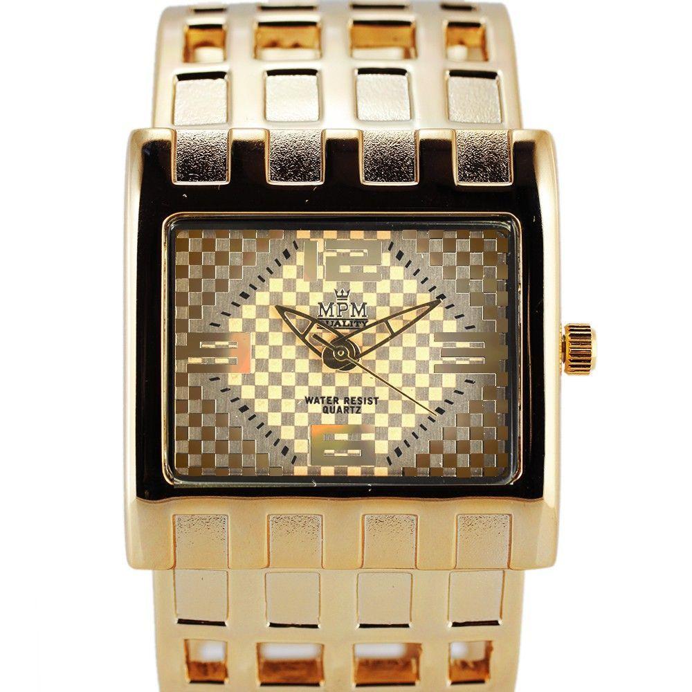 Dámské hodinky s pevným náramkem se zapínáním na klip. Číselník s motivem kostiček..0400 170769 Hodiny