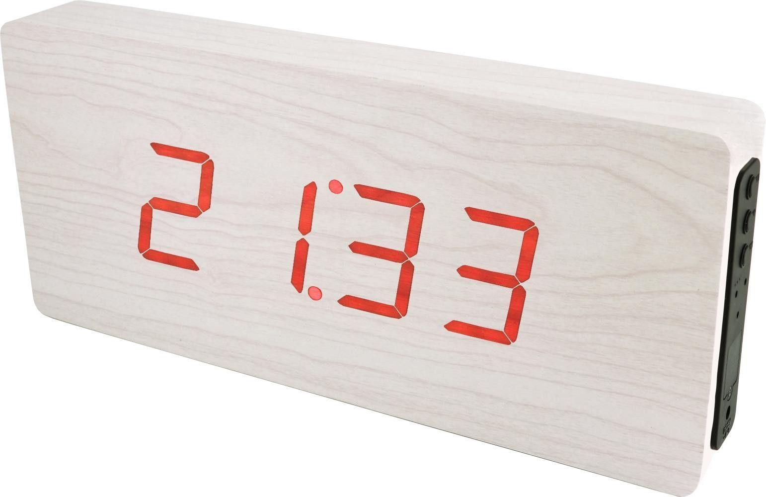 Dřevěný digitální budík se zelenými LED diodami, datem a teploměrem k postavení na stůl nebo pověšení na zeď. Napájecí adaptér je součástí balení..0546 170780 Hodiny