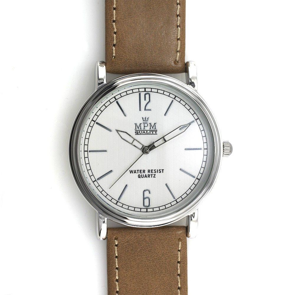 Elegantní hodinky klasického vzhledu na hnědém koženém řemínku..0455 170803 Hodiny