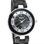 Elegantní quartz hodinky v moderním designu na bílém kovovém pásku..0477 170822 Hodiny