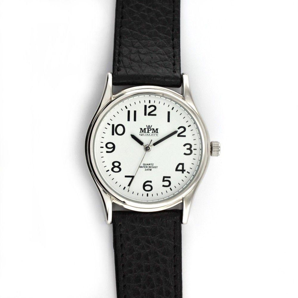 Klasické hodinky s koženým řemínkem..0456 170804 Hodiny