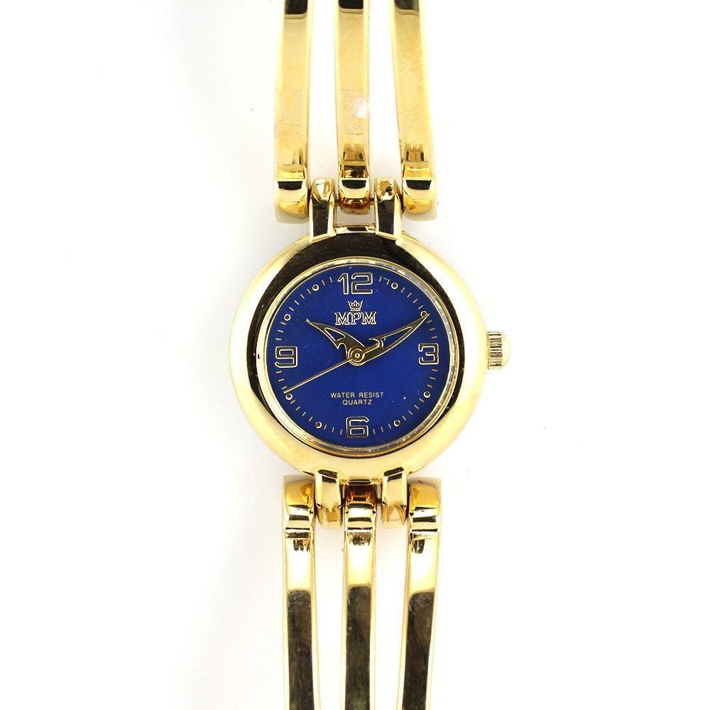 Náramkové dámské hodinky s modrým číselníkem a netradičními ručičkami..0405 170774 Hodiny