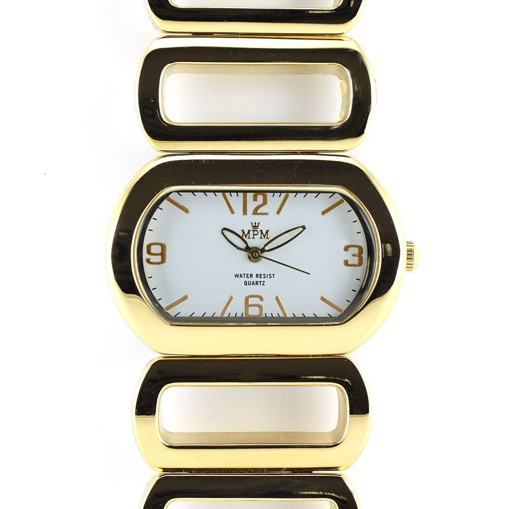 Náramkové hodinky oválného tvaru s bílým číselníkem..0361 170745 Hodiny