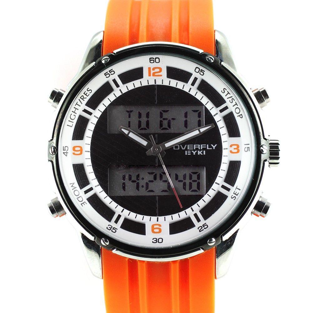 Sportovní hodinky s kombinovaným číselníkem a silikonovým řemínkem..0330 170715 Hodiny