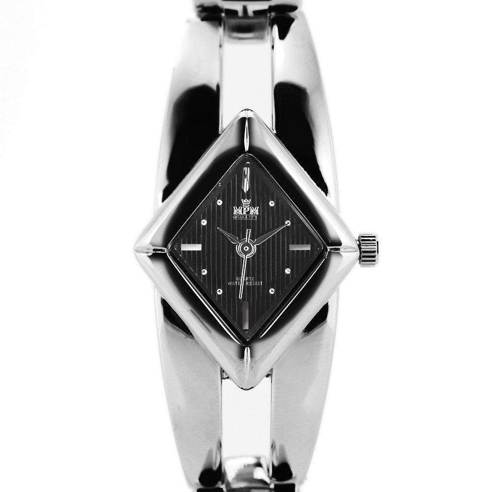 Stříbrné náramkové hodinky netradičního tvaru na pevném řemínku..0417 170785 Hodiny