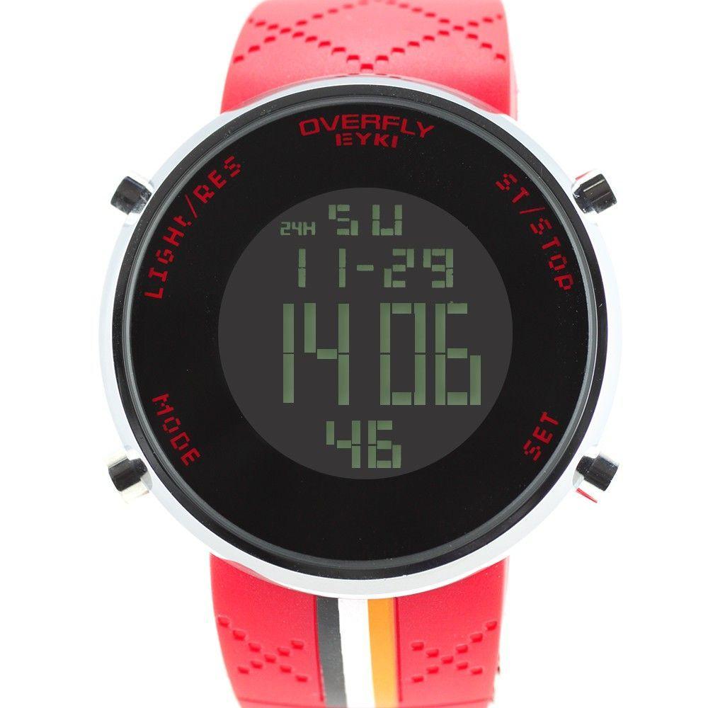 Výrazné sportovní hodinky s digitálním displejem a silikonovým řemínkem..0329 170714 Hodiny