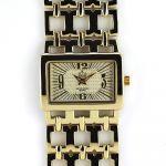 Zlaté dámské hodinky s reliéfním číselníkem..0408 170777 Hodiny