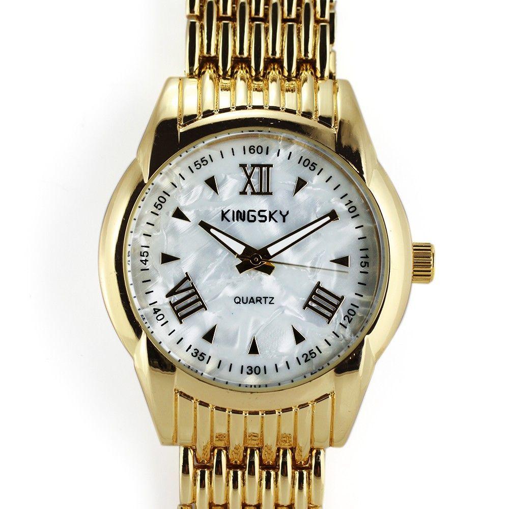 Zlaté elegantní hodinky s perletí v číselníku..0345 170730 Hodiny