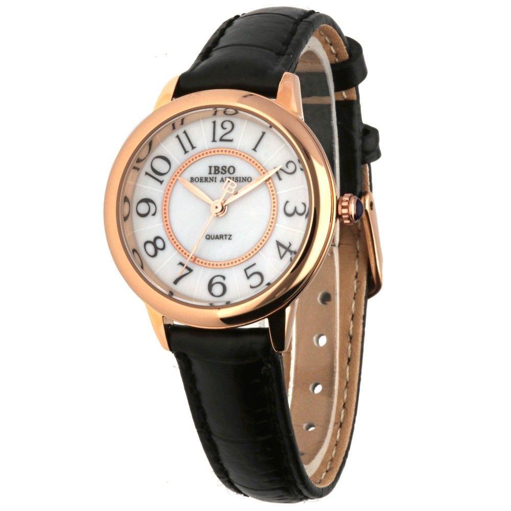 Dámské hodinky s hnědým koženým řemínkem..0586 170870 Hodiny