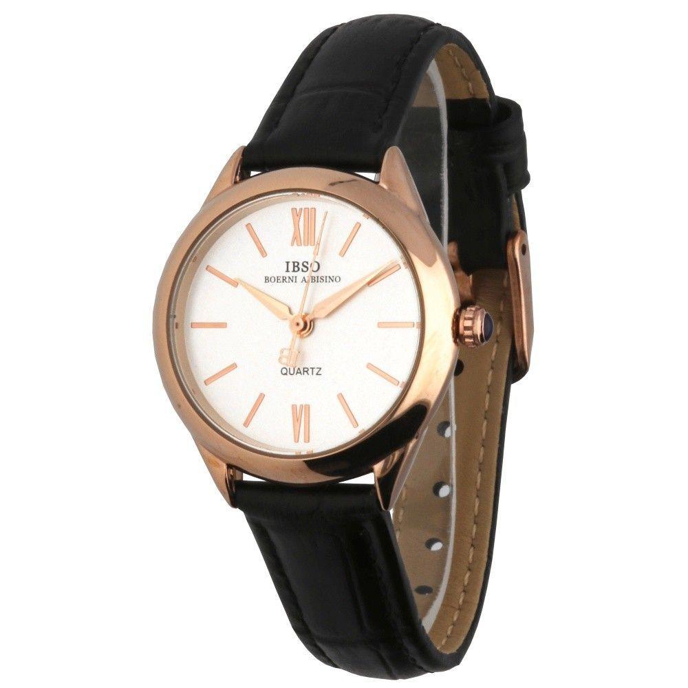 Dámské hodinky s pouzdrem z růžového zlata a černým koženým řemínkem..0589 170873 Hodiny