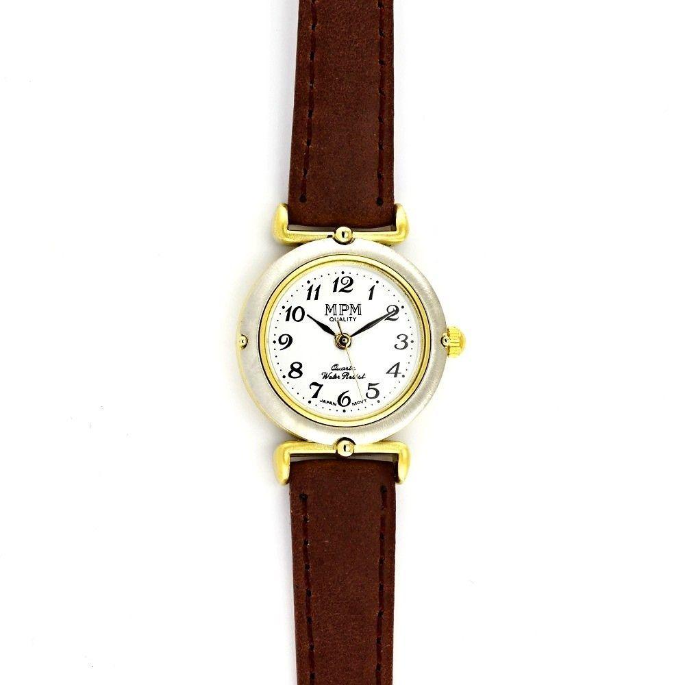 Dámské společenské hodinky s bílým koženým řemínkem a zlato-bílým pouzdrem..0554 170857 Hodiny