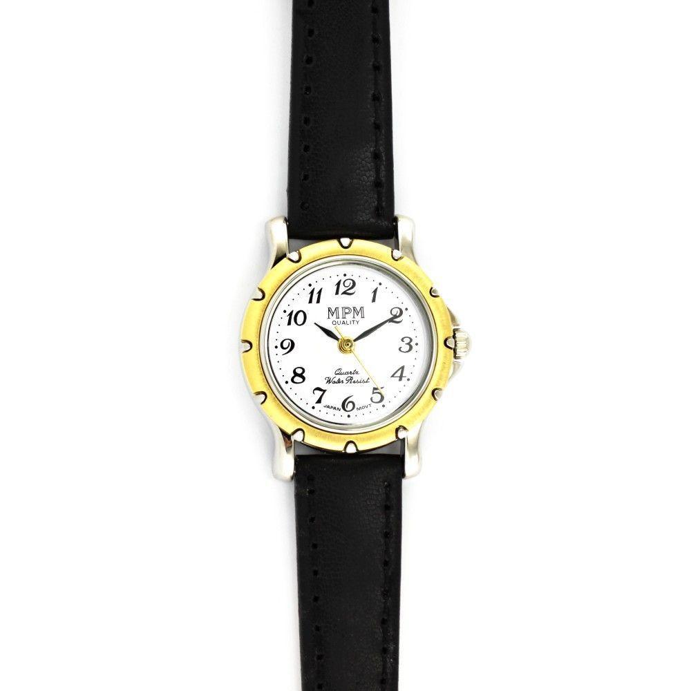 Dámské společenské hodinky s černým koženým řemínkem a zlatým zdobeným pouzdrem..0555 170858 Hodiny
